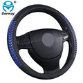 Trigo dermay nova tampa da roda de direcção do carro de couro genuíno azul & Bamboo Joint & Preto & Amarelo Borda Do Carro Auto acessórios