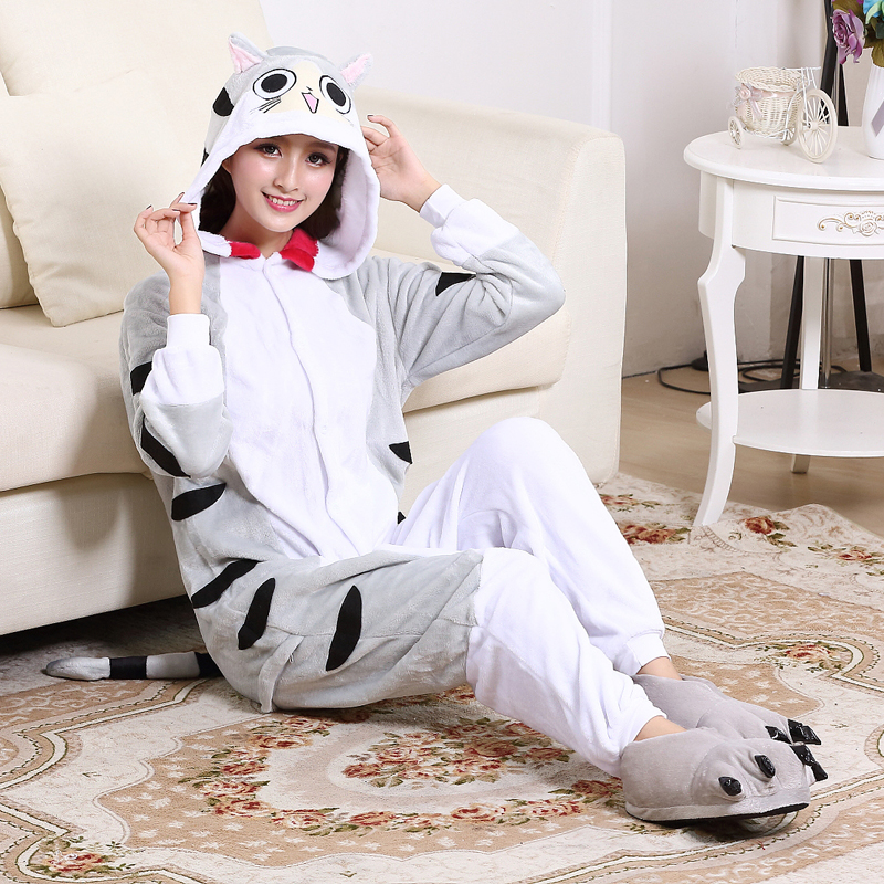 Soft Cartoon Cheese Cat Onesies For Adult Kigurumi Pajamas Flannel  One-Piece Pyjama Sleepwear Women Halloween Cosplay Costume - Fortuna Brands 8270fee5bcb37