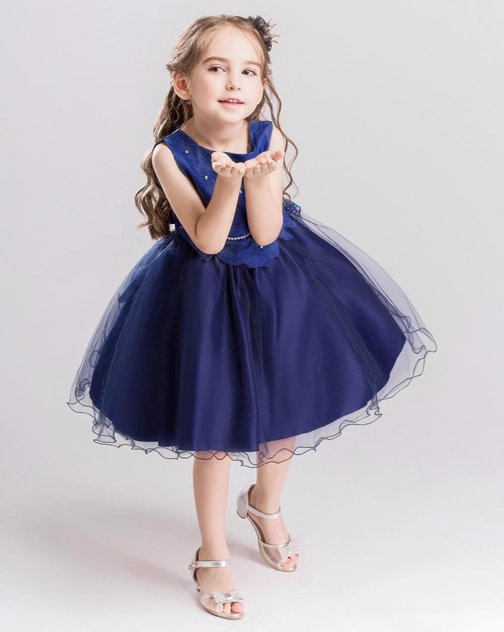Jurk Bruiloft Blauw.Hoogwaardige Borduurwerk Bloem Meisje Jurk Blauw Kleur Kinderen