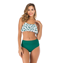 Hot Sexy New 2019 Bikinis Women Swimwear High Waist Swimsuit Halter Ruffle Bikini Set Retro Bathing Suits Plus Size XL