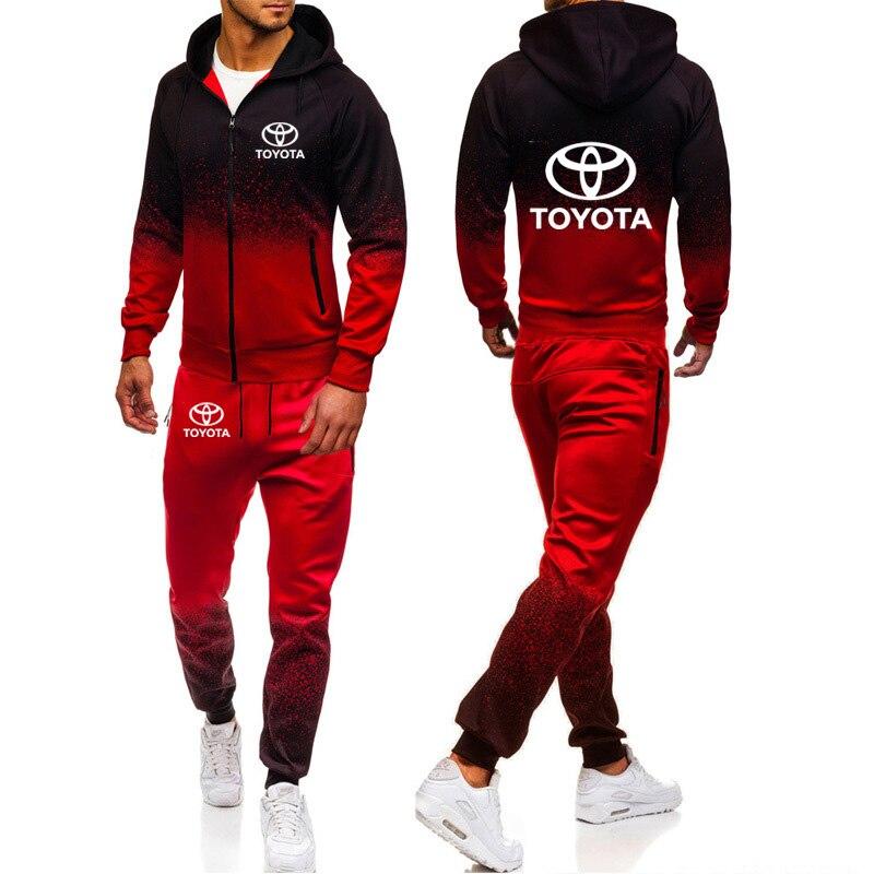 Hoodies Men Toyota Car Logo Print Casual Harajuku Gradient Color Hooded Fleece Zipper Jacket Sweatshirt Sweatpants Suit 2pcs