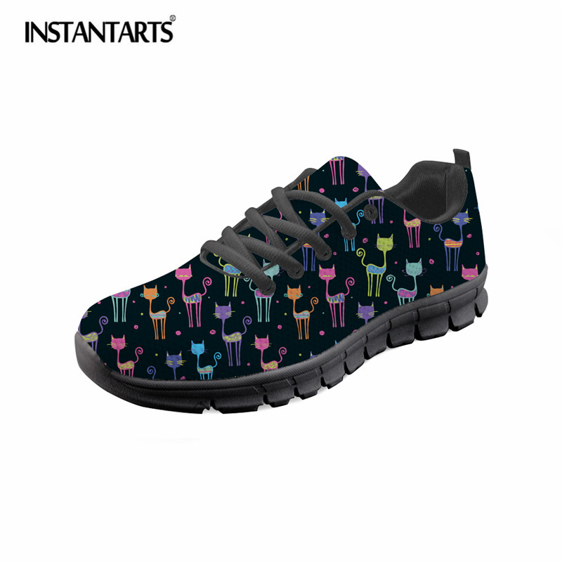 INSTANTARTS Cute Cartoon Cat Printed Women Casual Sneaker Shoes Summer Breathable Flat Shoe Girl Ladies Lightweight Walking Shoe brand quality the walking dead canvas shoes printed women casual flat shoes diy couples and lovers valentine gifts graffiti shoe