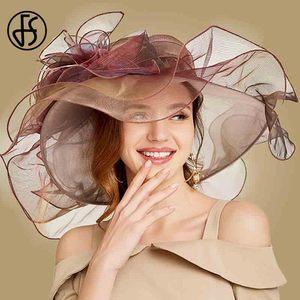 Image 4 - FS 2019 różowy Kentucky Derby kapelusz dla kobiet Organza kapelusze przeciwsłoneczne kwiaty eleganckie lato duże szerokie rondo panie ślub kościół Fedoras
