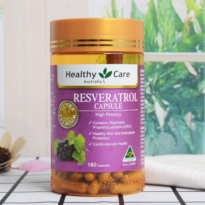 Australia Healthy Care Resveratrol 180cap Potent Antioxidant Grape