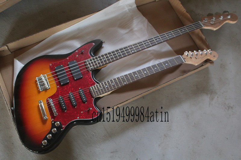 New Style Double neck Active pickups guitar 4 strings bass & 6strings electric guitar stratocaster custom body guitar