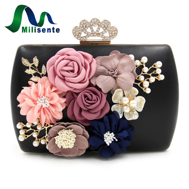 Milisente 2017 New Arrival Women Flower Clutch Bags Ladies Party Bags Female Wedding Clutches Purses
