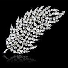 Novo Feather Broches Cachecol Pinos Folha Completa CZ Diamantes Jóias Acessórios Para Presentes Mulheres