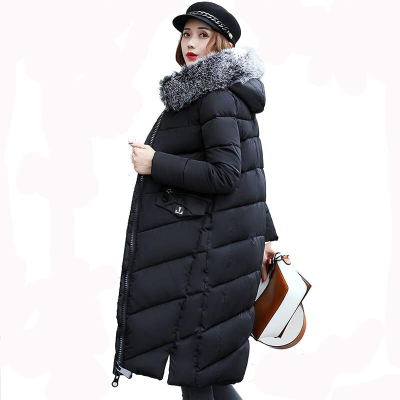 Women Winter Jacket 2017 Womens Jacket Thick Fur Hooded Long Down Cotton Padded Female Coat Parka Outerwear XXXL long coat womens jacket new printing was thin down cotton padded thick coat windbreaker
