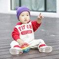 Baby Girl roupas 2015 de lã ocasional macacão de bebê capuz 100% algodão bordado respirável roupas de bebê recém-nascido