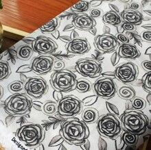 1 yard Elegant Dark Grey Roses USA 100% Cotton Fabric 43