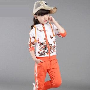 Image 3 - חדש אביב סתיו בנות בגדים פעילים מעיל פרחוני ספורט נים + מכנסיים 2Pcs סטי חליפת ילדי בנות 4 14y בגדים סטים