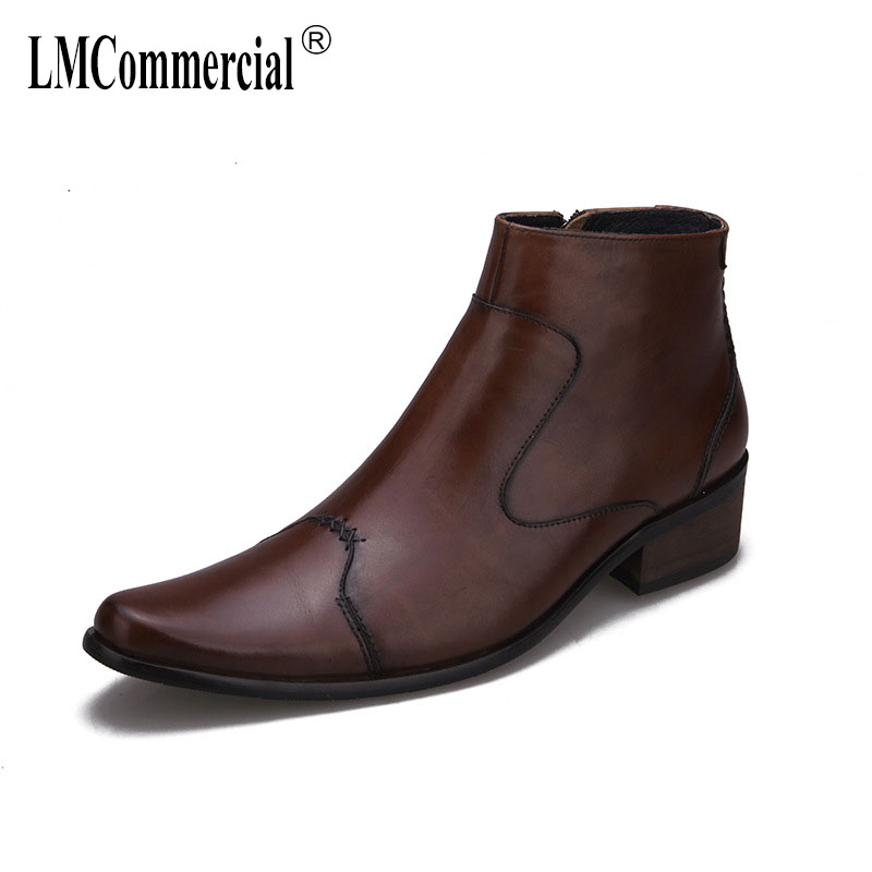 men s high heel boots man cowhide Riding Boots mens Genuine Leather military boots dress boots