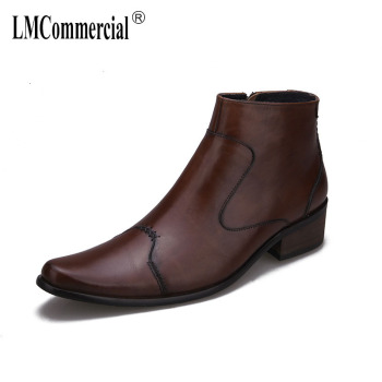 men's high heel boots man cowhide Riding Boots mens Genuine Leather military boots dress boots all-match cowhide autumn winter