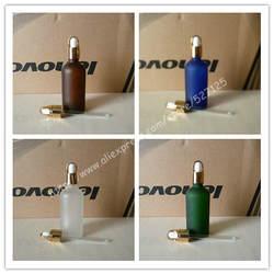 100 мл матовый прозрачный/зеленый/коричневый/синий стеклянная бутылка с блестящей золотой корзина кольцо черный/белый резиновый колпачок