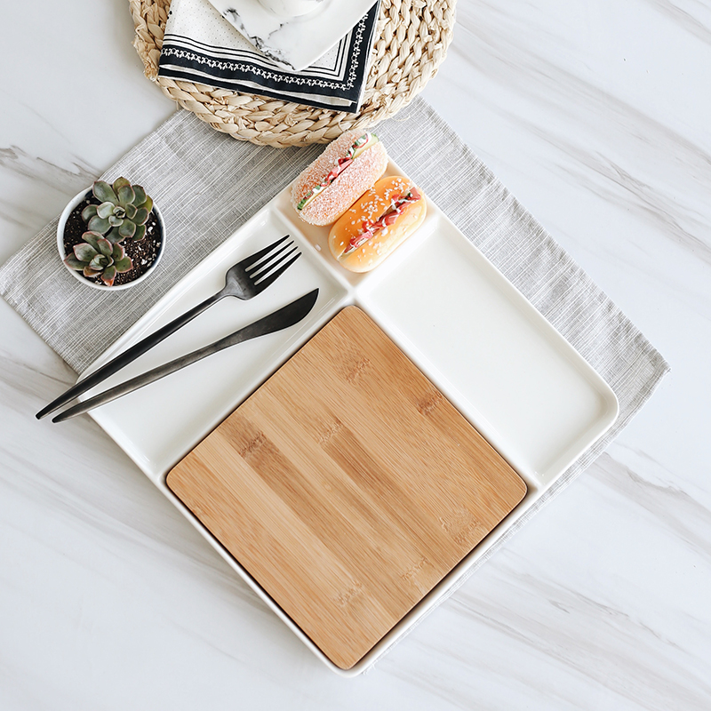 Ceramic Serving Trays with Bamboo Cutting Boards 1