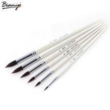 Bianyo Art Brushes 6Pcs Set Of Painting Brush Artist Supplies For Drawing Aqua Wooden Handle Water Brush Thin Waterbrush