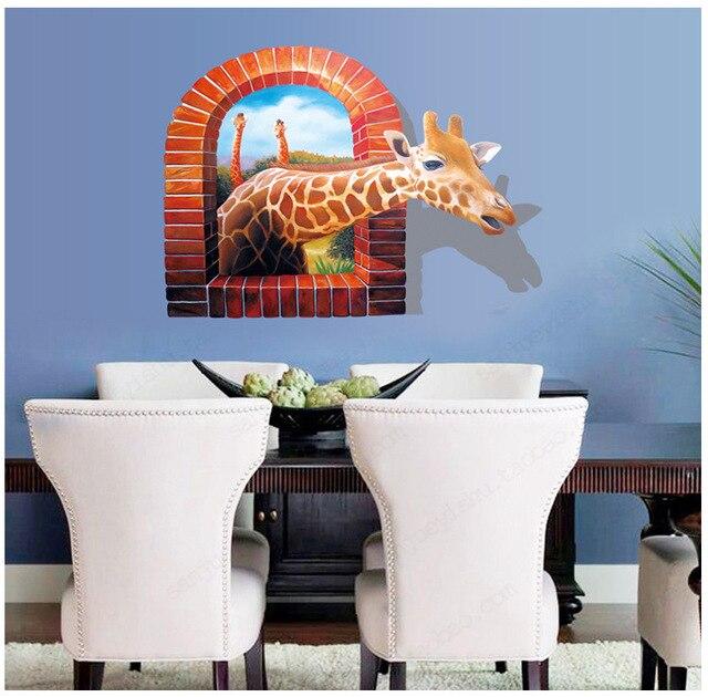 ay8007 3d lovely giraffe wall sticker cartoon decal living room home