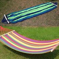 Portable Outdoor Hammock Canvas Double Spreader Bar Hammock Home Outdoor Garden Travel Swing Hang Bed Hammock