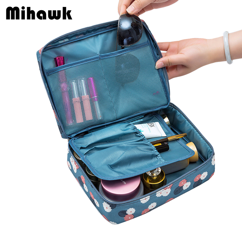 Mihawk Floral Cosmetic Travel Bags Woman's Toiletry Wash Bra Underwear Makeup Pouch Beautician Organizer Accessory Supply Stuff цена