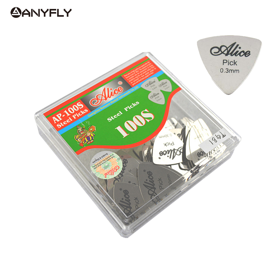 100 pcs wholesale Alice Stainless Steel Triangle Shape Metal Guitar Electric Guitar Rock Picks 0.3mm