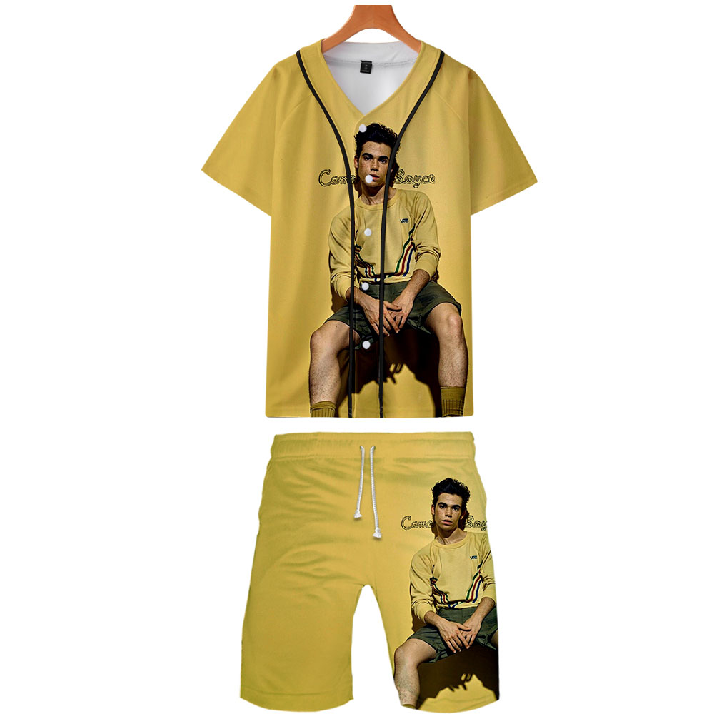 2019 Cameron Boyce Two Piece Set Jackets And Shorts Kpop Fashion New Brand Cool Print Cameron Boyce Baseball Jacket Set For Men