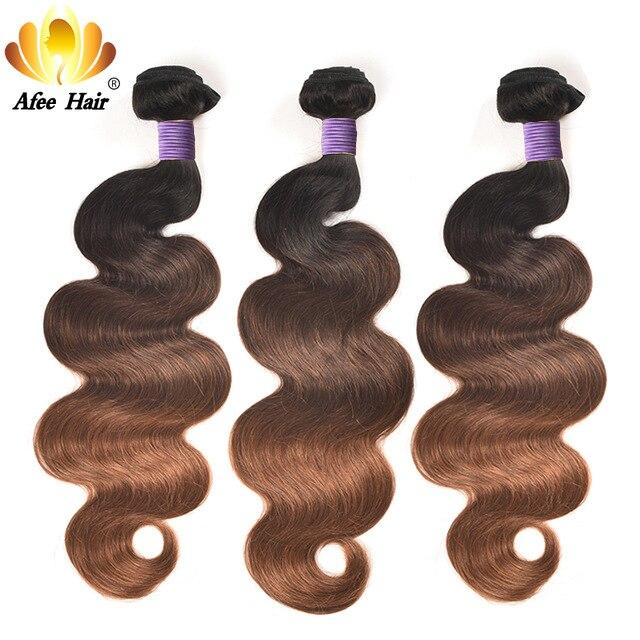 Aliafee brazil Body Wave Ombre Hair T1B / 4/30 3 tónus Nem Remy - Emberi haj (fekete)
