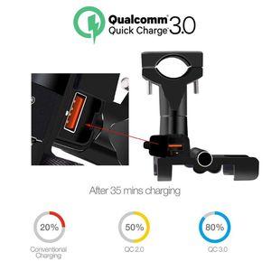 Image 2 - مرآة مقود الدراجة النارية من سبائك الألومنيوم 12 فولت مقاومة للماء QC 3.0 USB سريع شاحن سريع حامل الهاتف المحمول حامل جبل ل 4.3