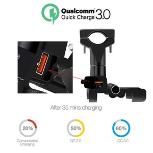 Image 2 - Aluminum Alloy Motorcycle Handlebar Mirror 12V Waterproof QC 3.0 USB Quick Fast Charger Mobile Phone Holder Mount Stand for 4.3