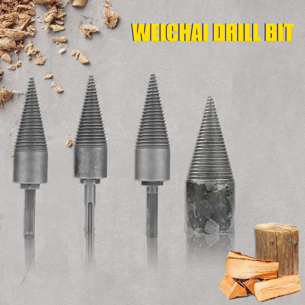4 Sizes Firewood Machine Drill Wood Cone Reamer Punch Driver Metal Drill Bit Split Drilling Tools For Carpentry