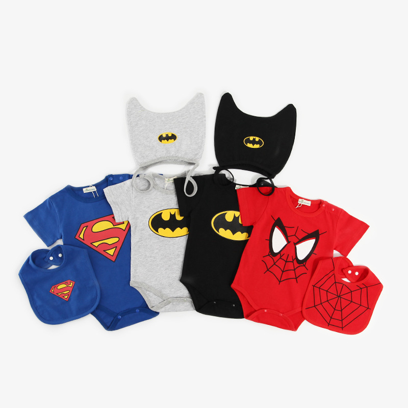 Retail 1 piece baby summer clothes Baby girl boy short sleeve Rompers Superman/Batman Cotton Infant baby jumpsuits