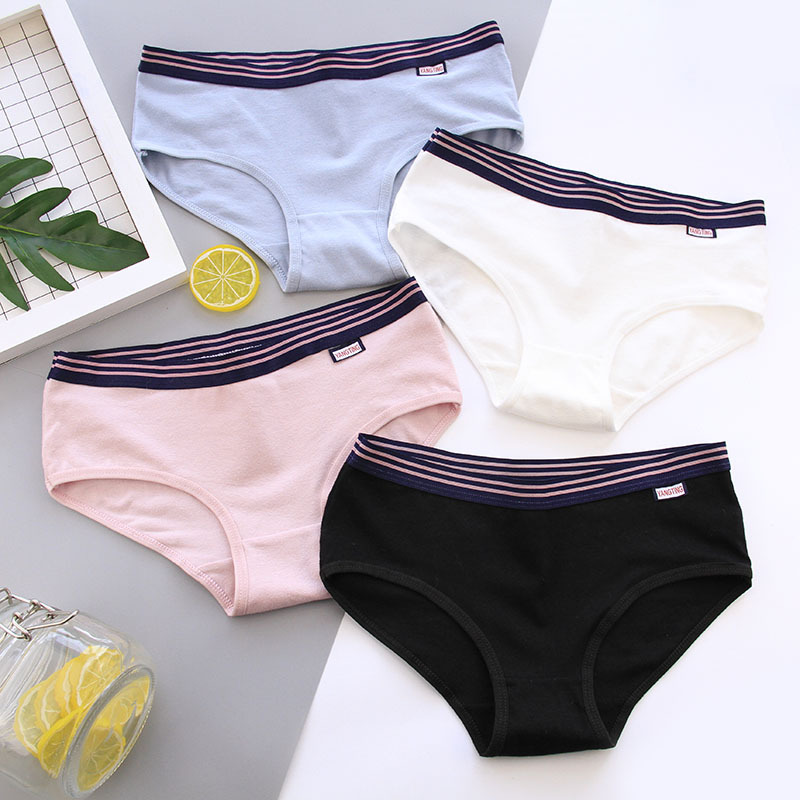 Women's cotton   Panties   girls sports simple Briefs fashion pure color underpant Female breathable underwear Ladies Lingerie