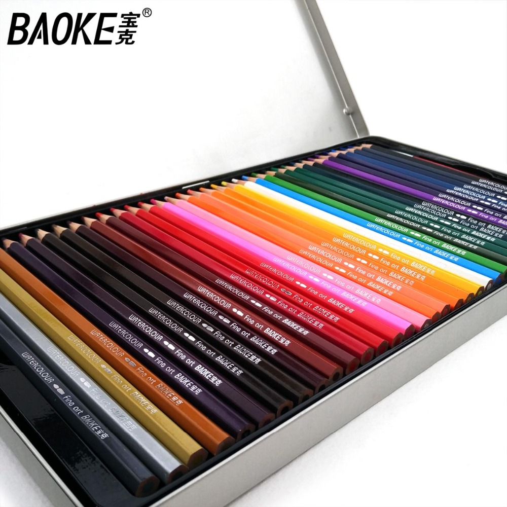 Baoke 72 Soft Colored Pencils Watercolor Lapis De Cor Professional 72 Cores Non-toxic Lead-free Colored Pencil Set Art Supplies