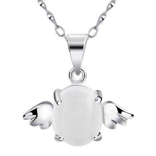 925 argent sterling ange oeuf aile 3.2 Carat naturel pierre de lune pendentif collier bijoux mode femme pierre de naissance cadeau SP0546M
