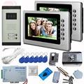 Видеодомофон  ИК камера ночного звонка  CCD камера  2 кнопки с Rfid разблокировкой  электронный замок  видеодомофон  7-дюймовый экран в комплекте