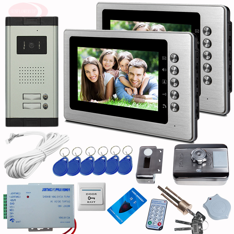 Video Door Phone IR Night Doorbell Camera CCD Camera 2 buttons With Rfid Unlock Electronic Lock