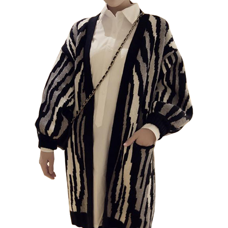 Long Cardigan Women Fall Winter New Korean Wild Sweater Zebra long-sleeved  Knit Sweaters Coat 519600693d42