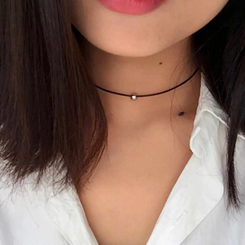 Hot New Torques Bijoux Pure black braided leather cord necklace Maxi statement necklace Chokers Necklace for women 2017 Jewelry