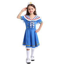 Sailor Costume Girls Children Cosplay Cute Kids Navy Halloween For Carnival Purim Party Suit