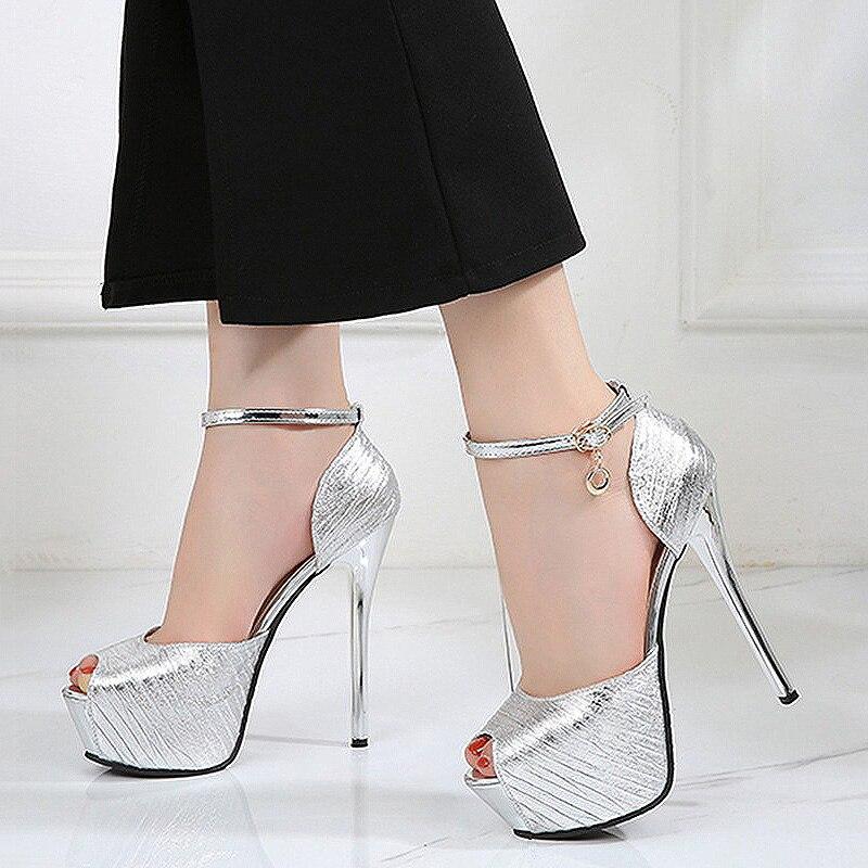 c0bfa305 Cheap Plataforma tacones altos peep toe bombas de las mujeres zapatos de tacón  alto, correa