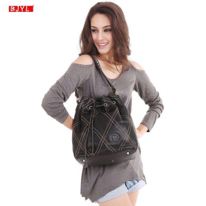 BJYL Новая натуральная кожа женская сумка мешок модный шнурок дизайн сумки женские первый слой сумка через плечо ручной работы