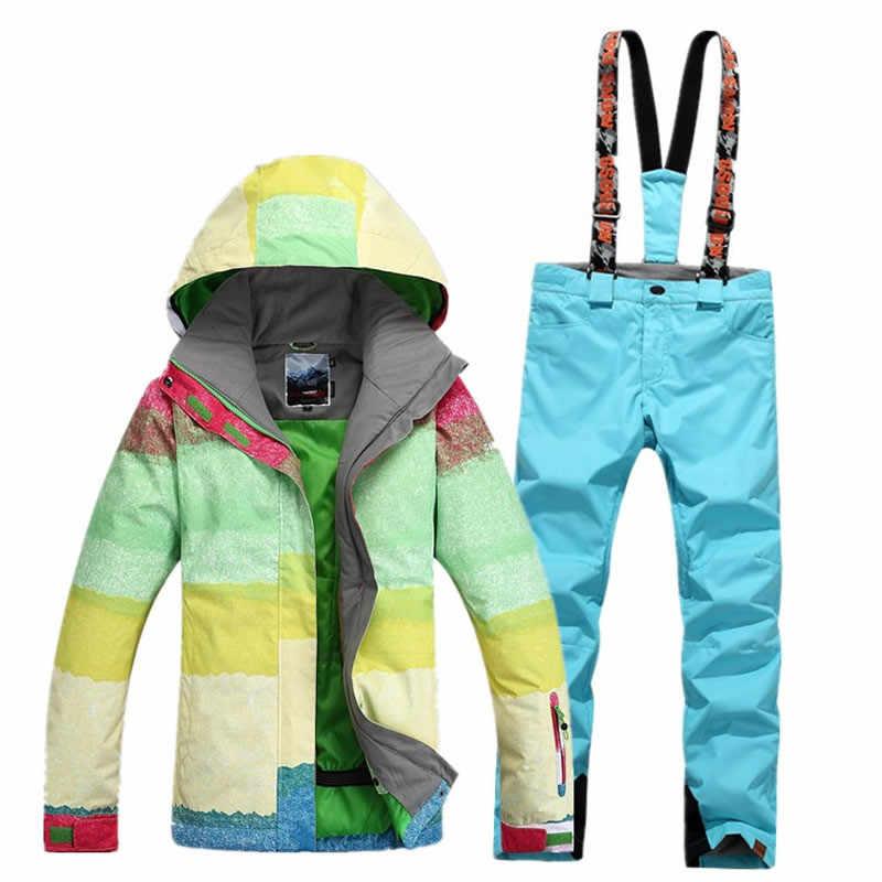 Многоцветные высокого качества Женский лыжный костюм наборы водонепроницаемый ветрозащитный Толстая зимняя теплая одежда Сноубординг костюм зимняя куртка + брюки