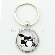 Drum Kit silhouette key chain DJ turner DJ mixer simple drum set profile pattern keychain drummer Custom musician gifts KC595(China)