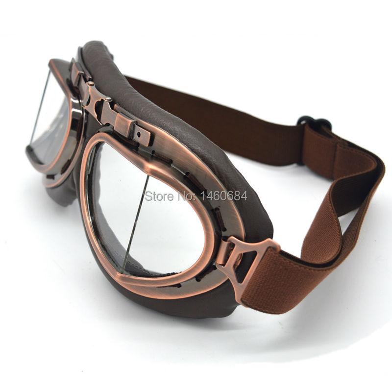 New Vintage Leather Motorcycle Goggles Pilot Motorbike Retro Jet Helmet Eyewear Glasses 2018 newest harley style leather goggles vintage motorcycle goggles vintage motorcycle goggles retro jet helmet glasses
