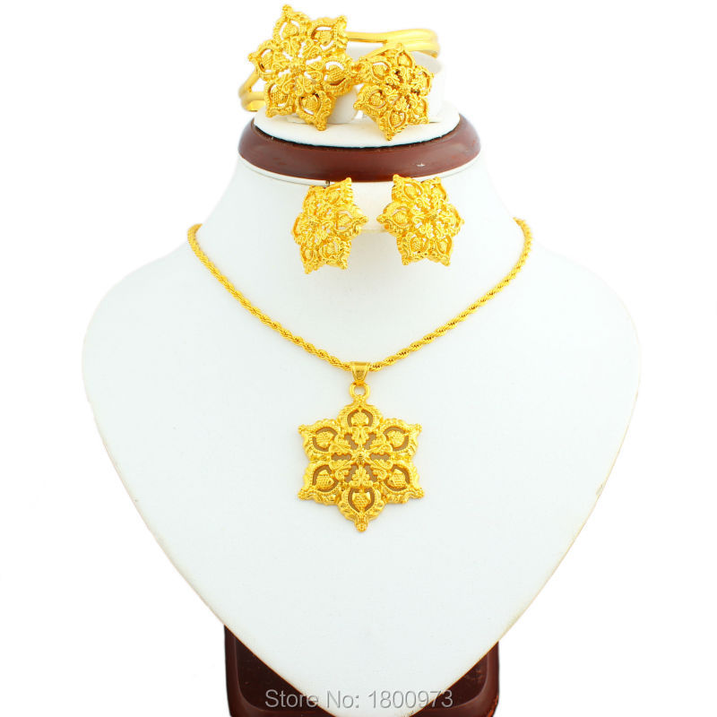 Hot Sale 2017 Big Size Gold Flowers Ethiopian Jewelry Sets 22k Gold