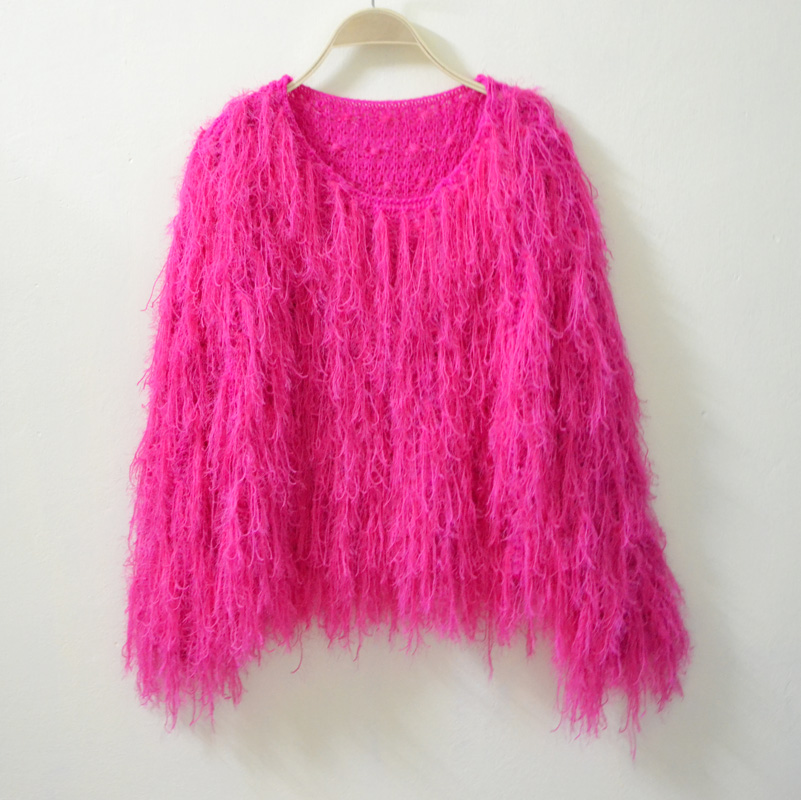 Vintage handmade crocheted sweater shaggier tassel loose pullover outerwear  6108 women fringed tassels jumper knitted sweaters