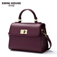 EMINI HOUSE Lock Flap Bag Luxury Handbags Women Bags Designer Split Leather Crossbody Bags For Women