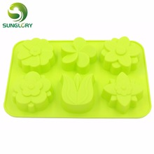 Fondant Cake Decorating Tools 6 Flowers Silicone Pan Candy Jelly Soap Decoration Mold Cupcake Baking Bakeware
