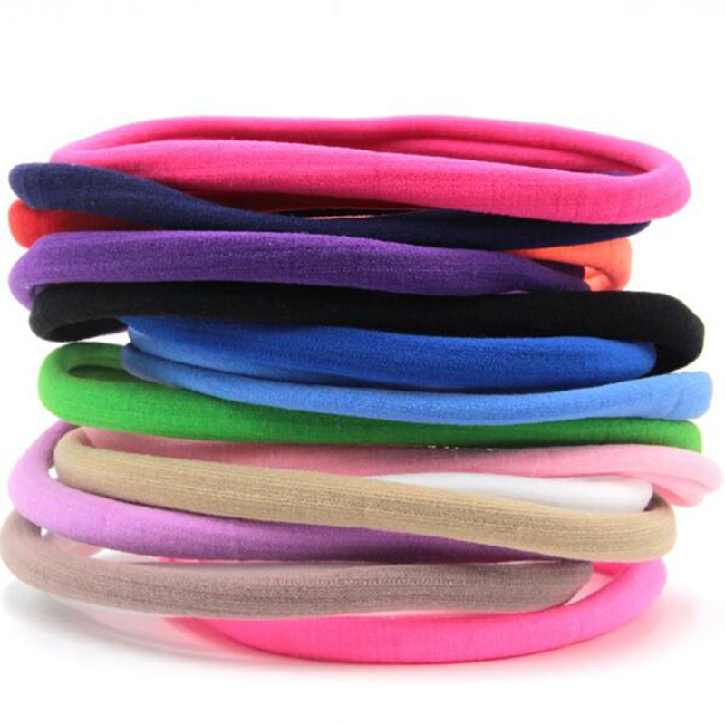 10pcs/lot Kids Spandex Nylon Headband Elastic Nylon Headband Girls Kids Skinny Hairband Headwear DIY Hair Accessories metting joura vintage bohemian green mixed color flower satin cross ethnic fabric elastic turban headband hair accessories