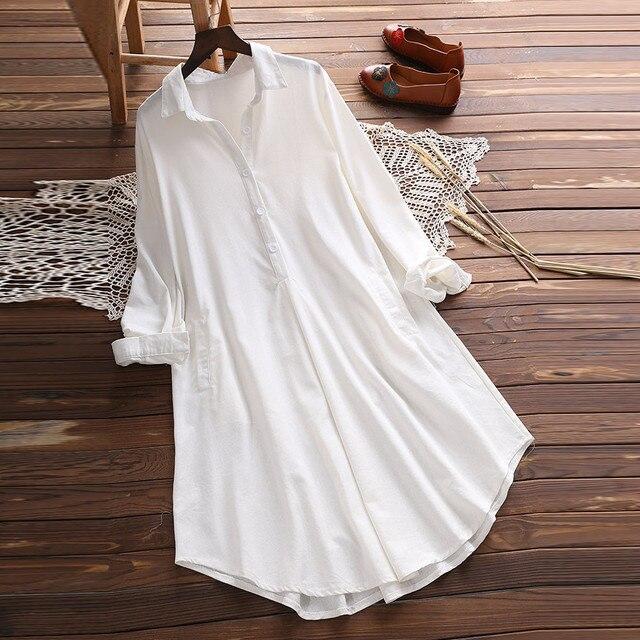 Большие размеры 5XL Женские топы и блузки с длинным рукавом 2018 уличная Кнопка V образным вырезом Длинные рубашки туника дамы Топ Женская одежда