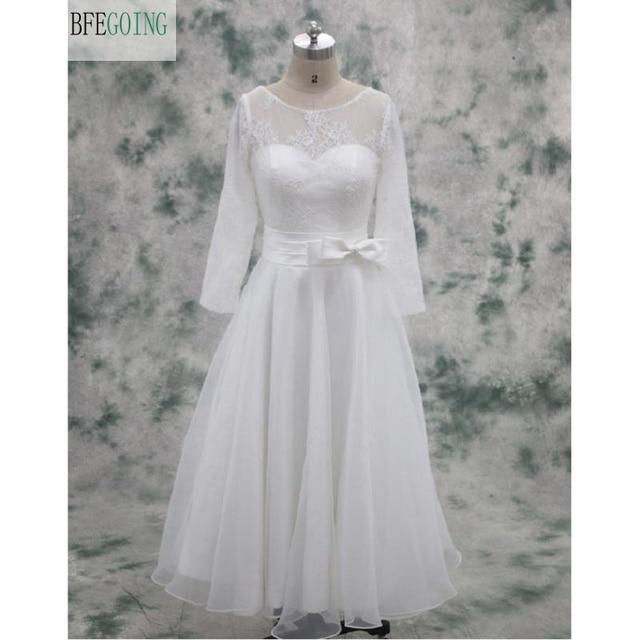 Organza Lace Mid Calf Length A Line Wedding Dress Long Sleeves